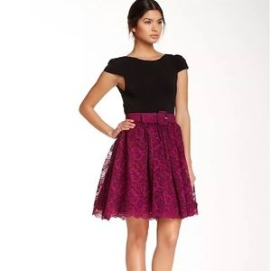 Alice+Olivia Magnolia Flare Dress Purple And Black